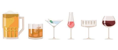 Set of different bar glasses vector
