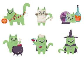 Cat in different costumes. Halloween characters in cartoon style vector