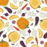 Seamless pattern of autumn vegetables on a white background vector