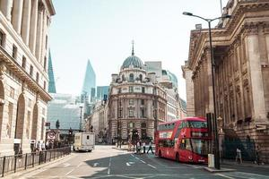 LONDON, UNITED KINGDOM - AUG 27 2019 - This is a street in the City of London financial district photo