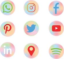 colorful social media icons with cute candy colors vector
