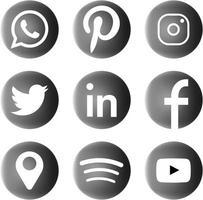 black and white social media icons monochrome elegant icon bundle vector