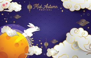 Mid Autumn Festival with Jumping Bunny Character vector