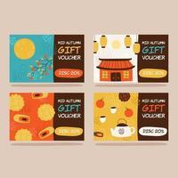 Handdrawn Mid Autumn Card Pack vector