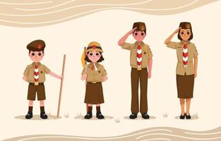 Pramuka Boyscout Characters Concept vector