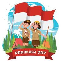 Happy Pramuka Day with Boyscout Salute Concept vector