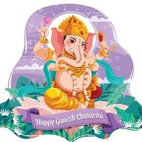 Happy Ganesh Chaturthi With Lord Ganesh Concept vector
