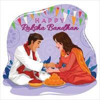 Happy Raksha Bandhan with Sibling Concept vector