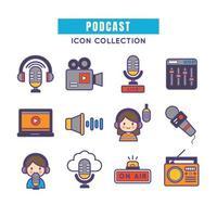 podcasts de equipos de audio vector