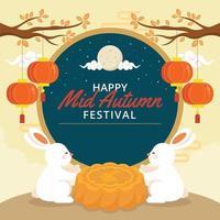 Family of Fluffy Rabbit Enjoying Moon Cake Autumn vector