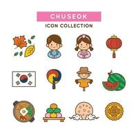 Traditional Clothes and Foods Chuseok Festival Icons vector