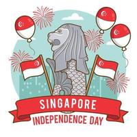Merlion as the Mascot of Singapore Independence Day vector