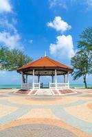 Pavilion with sea beach background in Songkla, Thailand photo