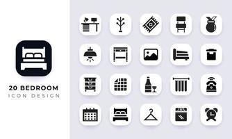 Minimal flat bedroom icon pack. vector