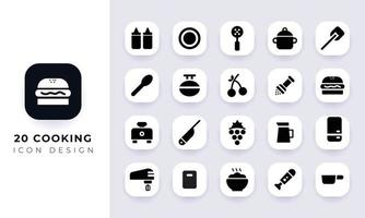 Minimal flat cooking icon pack. vector