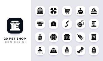Minimal flat pet shop icon pack. vector