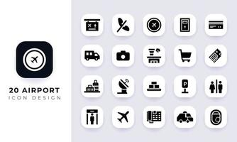 Minimal flat airport icon pack. vector