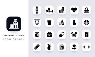 Minimal flat healthy lifestyle icon pack. vector