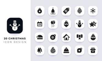 Minimal flat christmas icon pack. vector