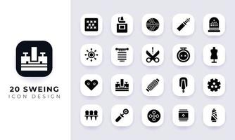 Minimal flat sewing icon pack vector
