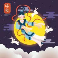 Mid Autumn Festival Flying to the Moon vector