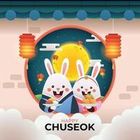 Chuseok Korea Thanksgiving with Rabbit vector