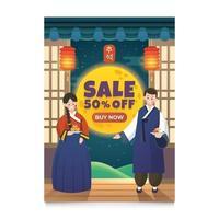 Celebrate Chuseok Korea Thanksgiving Sale Poster vector