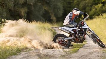 Stylish man riding motorbike forrest. High quality beautiful photo concept