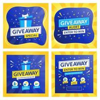Giveaway Templat for Social Media Marketing vector
