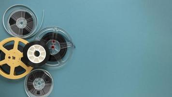 Top view movie reels with copy space. High quality beautiful photo concept