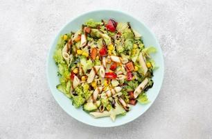 Top view pasta salad with balsamic vinegar. High quality beautiful photo concept