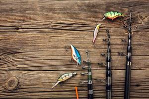 Top view fishing bait fishing rods. High quality beautiful photo concept