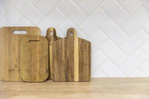Wooden boards kitchen counter. High quality beautiful photo concept