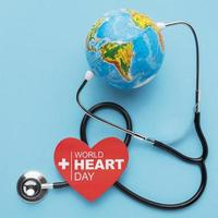 Top view world heart day concept with globe. High quality beautiful photo concept