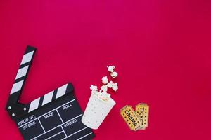 Stylish arrangement popcorn tickets. High quality beautiful photo concept