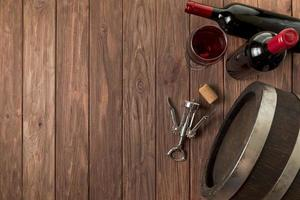 Top view wine bottles wooden background. High quality beautiful photo concept