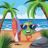 Watermelon Character with Surfboard in the each vector
