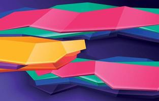 3D Geometric Shapes with Colourful Abstract vector