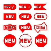 New sticker set. Red promotion labels for new arrivals shop section. Badges with word new. Flat style. Illustration isolated on white background vector