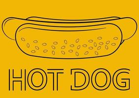 Hotdog. Hot dog in outline style, isolated in yellow background. Fast food for poster, menus, brochure, sign boards, showcases, web and icon fast food vector