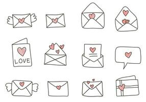 Doodle Illustration with Envelope and Heart vector