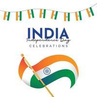 Plantilla de banner del día de la independencia de India. vector