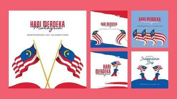 Malaysia independence day banners template. Design with national flag. vector