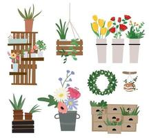 Plant interior props and plants in flower shop. vector
