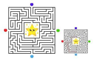 juego de laberinto cuadrado laberinto para niños. lógica laberinto vector