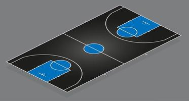 Basketball court. Black background with blue details. Multicolor vector