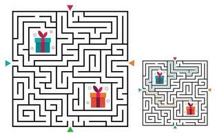 juego de laberinto cuadrado laberinto para niños. acertijo de lógica laberinto. vector