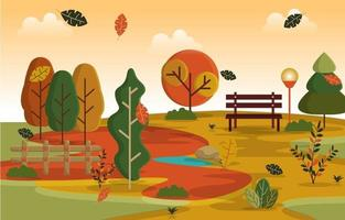 Autumn Fall Season Countryside Park Nature Landscape vector