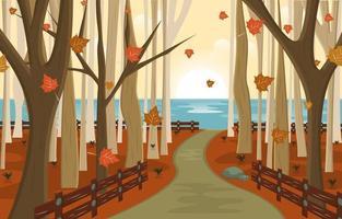 Autumn Fall Season Countryside Street Nature Landscape vector