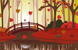 Autumn Fall Season Countryside River Bridge Nature Landscape vector